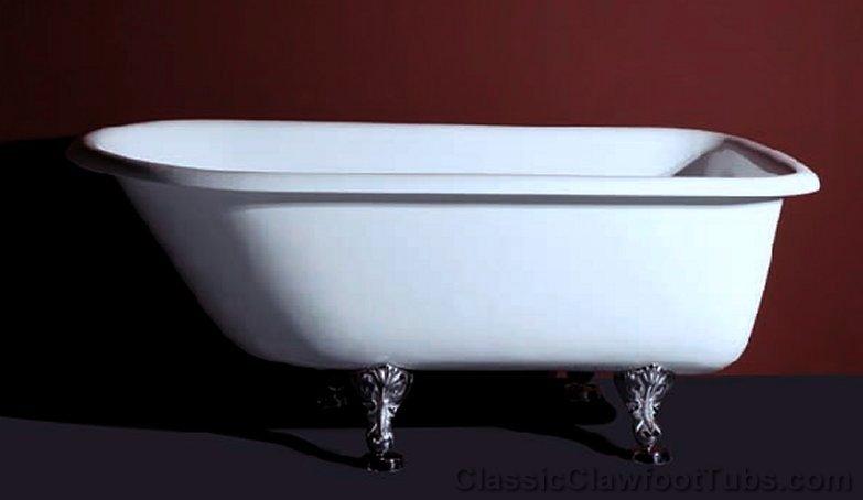 57 rolled rim cast iron clawfoot tub classic clawfoot tub for Claw foot bath tubs