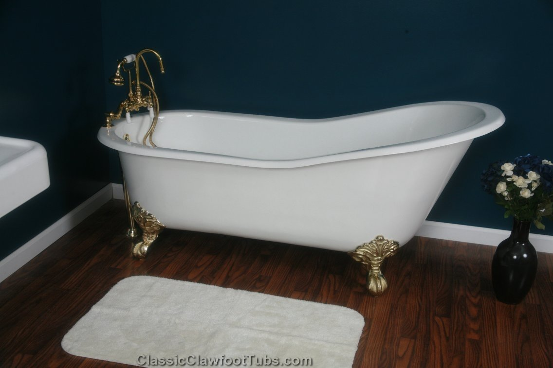67 cast iron slipper clawfoot tub classic clawfoot tub for Extra long soaking tub