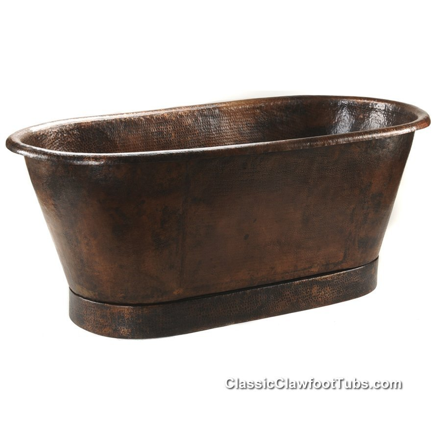 72 hammered copper double ended bathtub classic for Copper claw foot tub