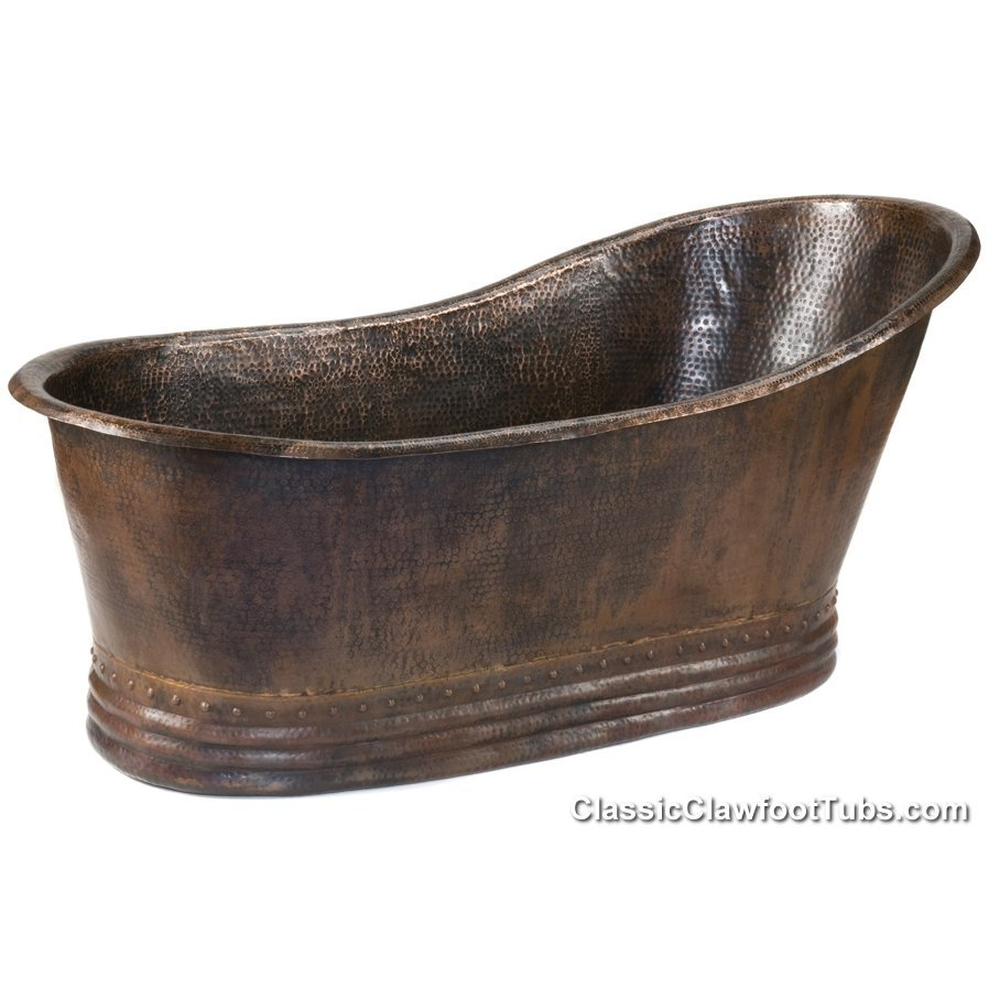 67 hammered copper slipper bathtub classic clawfoot tub for Copper claw foot tub