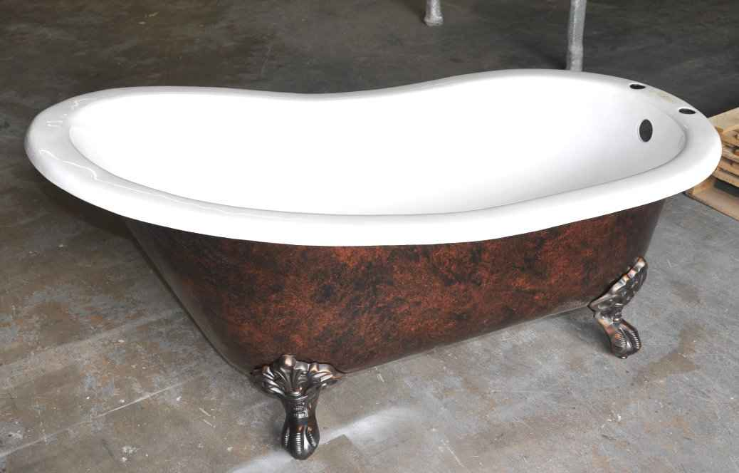 57 cast iron slipper clawfoot tub classic clawfoot tub for Cast iron tubs vs acrylic