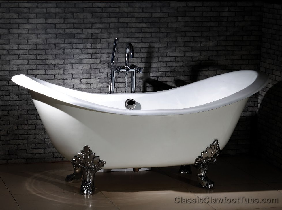 71 cast iron double ended slipper clawfoot tub w lions. Black Bedroom Furniture Sets. Home Design Ideas