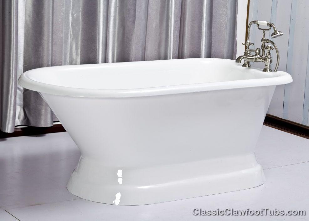 61 Quot Rolled Rim Cast Iron Pedestal Tub Classic Clawfoot Tub