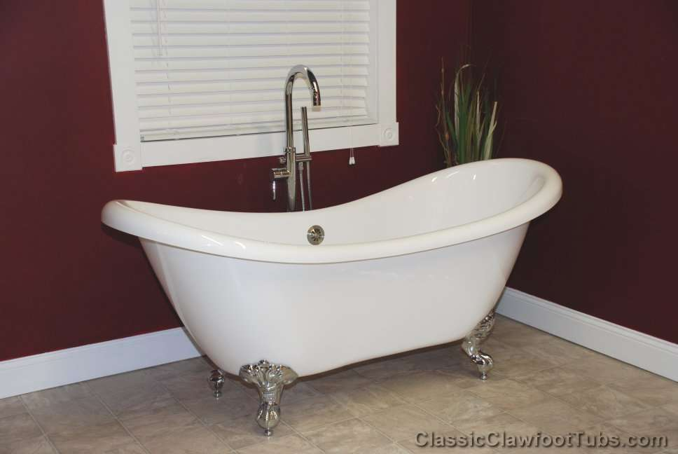 """Acrylic Sink Manufacturers Mail: 69"""" Acrylic Double Ended Slipper Clawfoot Tub"""