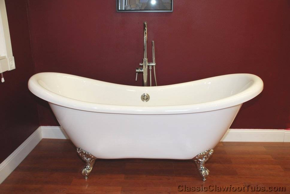 69 Acrylic Double Ended Slipper Clawfoot Tub