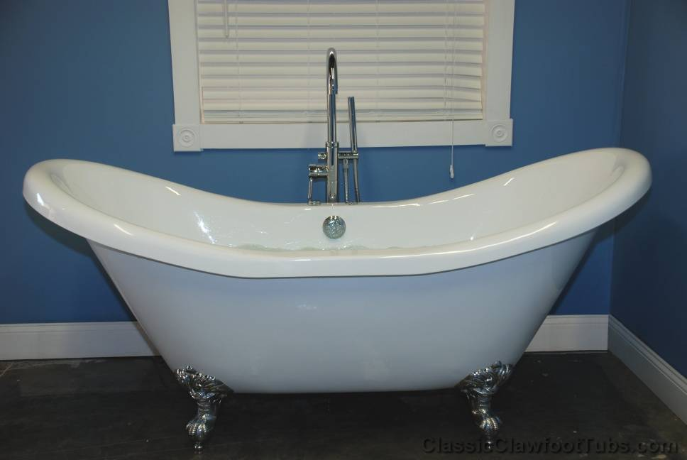 72 acrylic double ended air jet slipper clawfoot tub classic