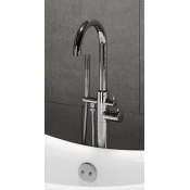Modern Freestanding Gooseneck Faucet Supply w/Shower Wand