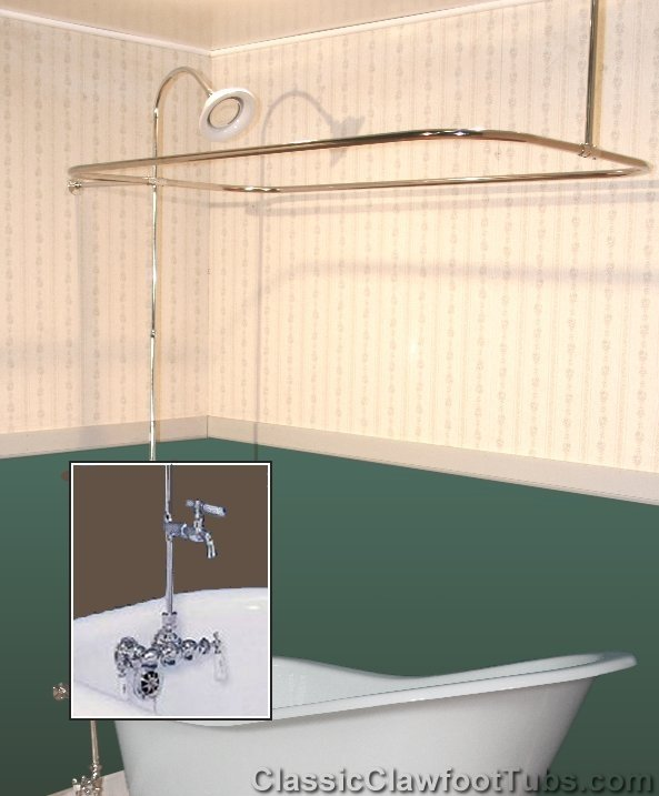Clawfoot Tub Wall Mount Shower Enclosure Combo w/ Leg Tub Faucet ...