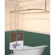 Clawfoot Tub Wall Mount Shower Enclosure Combo w/ Leg Tub Faucet