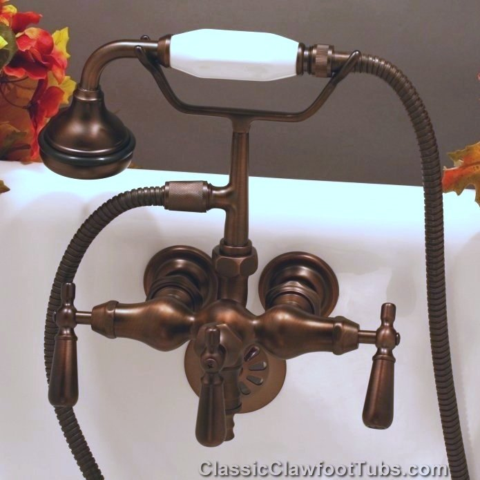 Clawfoot Tub Small Spout Faucet W Hand Held Shower