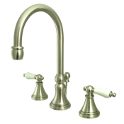 "Victorian 8"" Widespread Gooseneck Faucet Set w/ Pop Up Drain - CP-SH298"