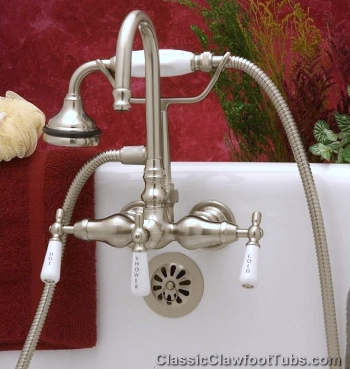 s kingston drop mount brass wall tub rain package filler goose with faucets faucet claw riser clawfoot neck center htm p