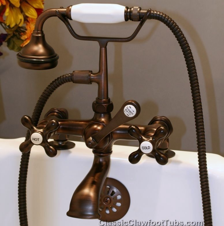 Clawfoot Tub Deckmount British Telephone Faucet W Hand Held Shower Cam463 2