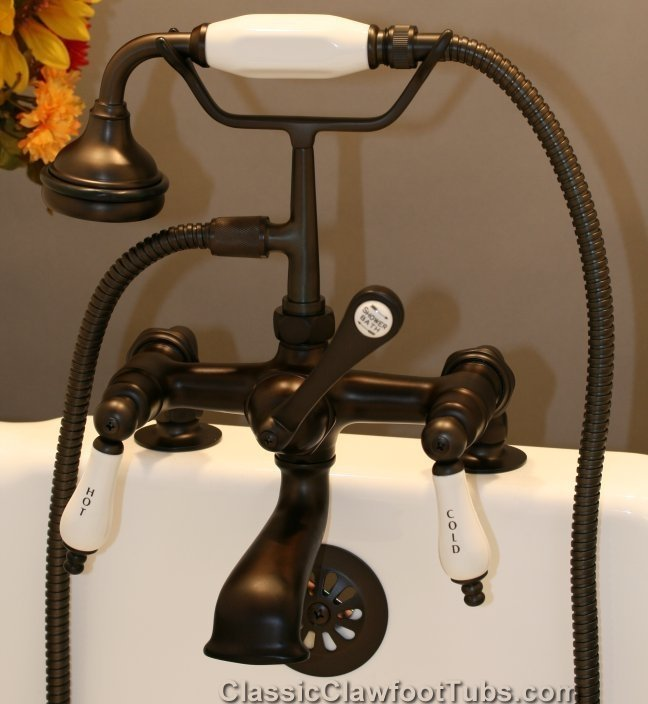Clawfoot Tub Deckmount British Telephone Faucet W Hand Held Shower