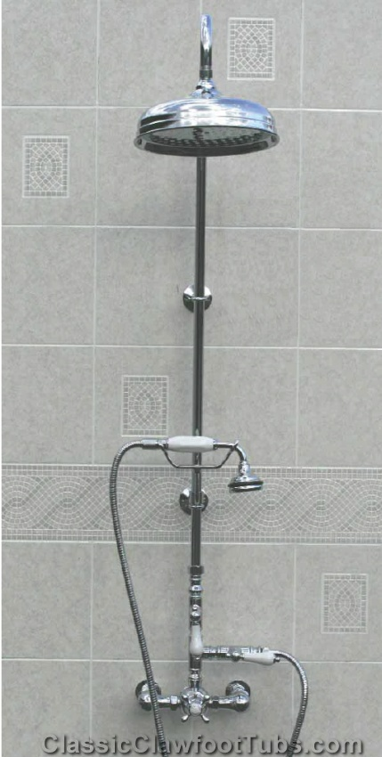 Exposed Wall Mount Thermostatic Shower W Rain Shower Head Handheld Unit