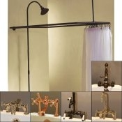Clawfoot Tub Deckmount Shower Enclosure Combo w/ Faucet Option