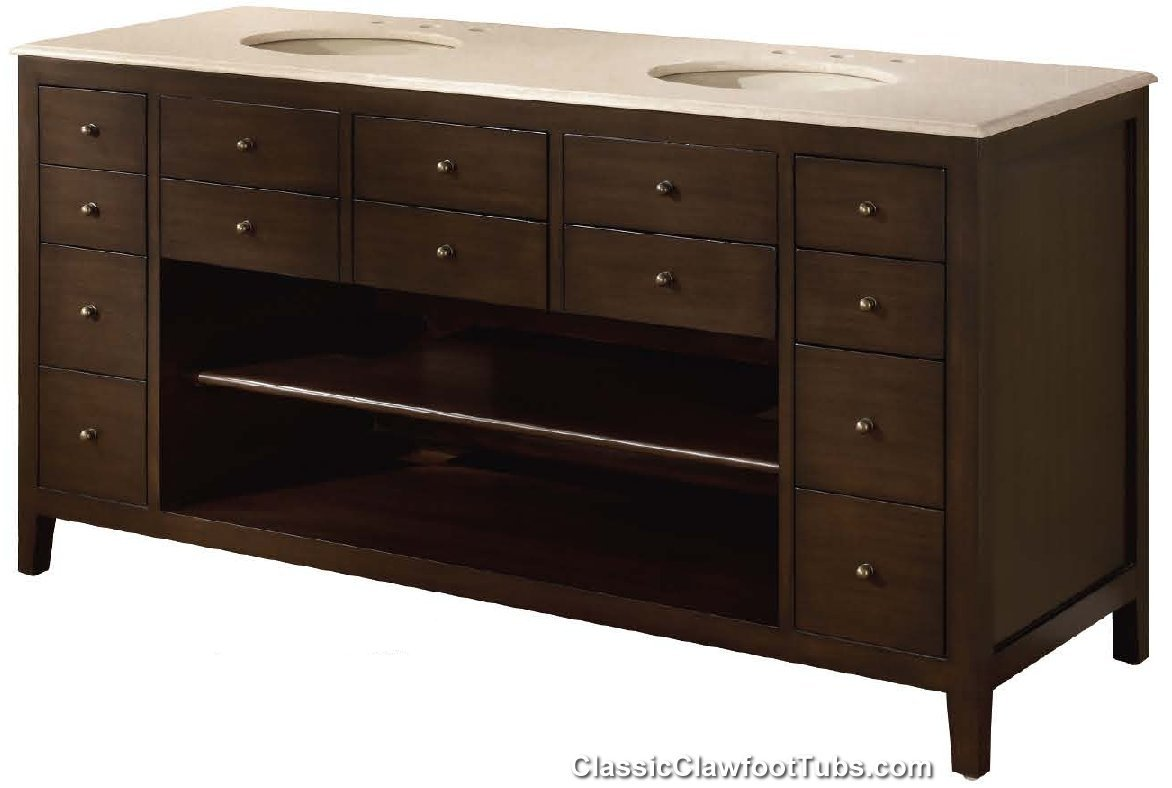 68 Double Bathroom Vanity Classic Clawfoot Tub