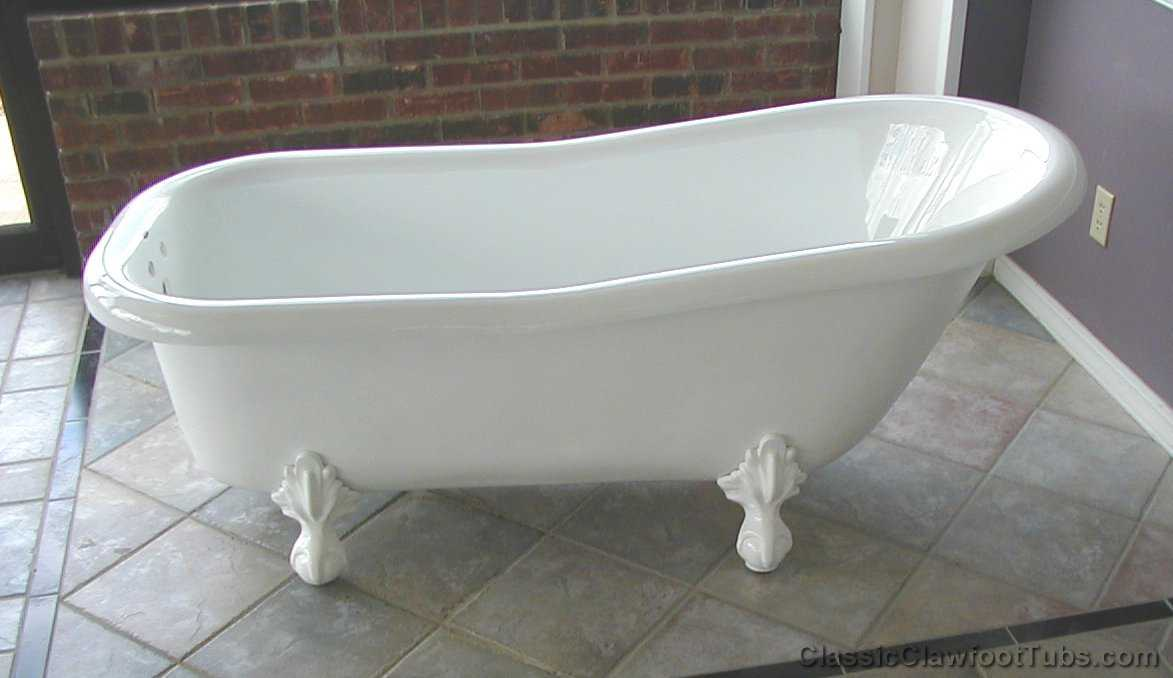 60 acrylic slipper clawfoot tub classic clawfoot tub for Bathtub size in feet