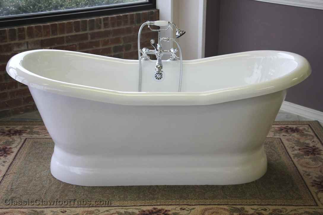 68 Acrylic Double Ended Slipper Pedestal Tub
