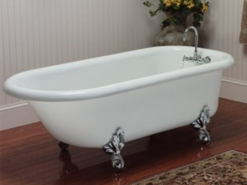 66 Acrylic Rolled Rim Clawfoot Tub