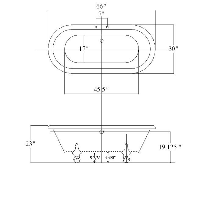 clawfoot tub dimensions. 66\ Clawfoot Tub Dimensions O