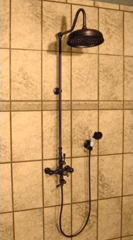 Exposed Wall Mount Thermostatic Shower w/Rain Shower Head & Handheld ...