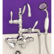 Thermostatic Leg Tub Faucet w/Arch Spout and Handheld Unit