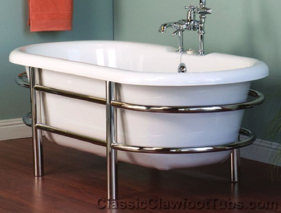 66 Quot Acrylic Double Ended Tub W Stainless Steel Frame