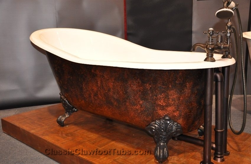 "How about some more color? The 57"" Cast Iron Slipper Clawfoot Tub"