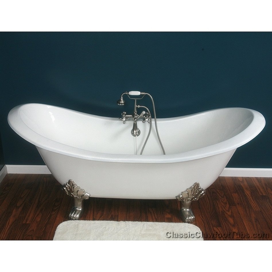 71 Cast Iron Double Ended Slipper Clawfoot Tub W Lions Feet Classic C
