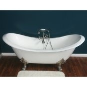 "71"" Cast Iron Double Ended Slipper Clawfoot Tub w/Lions Feet"