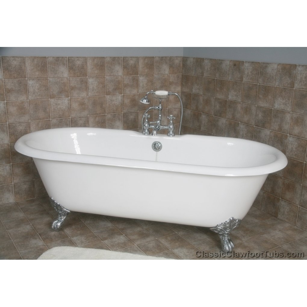 67 cast iron double ended clawfoot tub classic clawfoot tub for Claw foot soaker tub