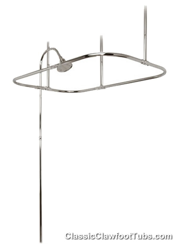 Clawfoot Tub Shower Enclosure Riser Ceiling Mounted No Faucet