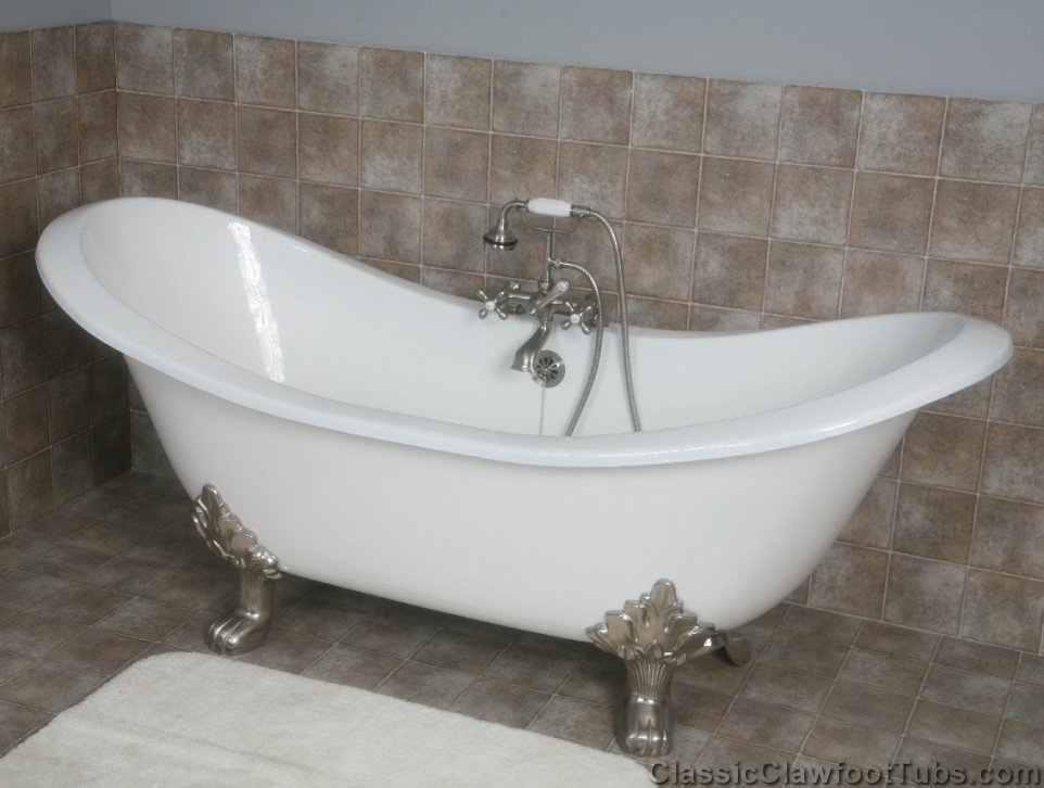 """71"""" Cast Iron Double Ended Slipper Clawfoot Tub w/Lions ..."""