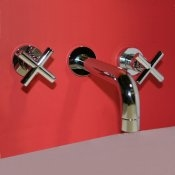 Wall Mounted Bathroom Sink Faucet with Cross Handles - SH005