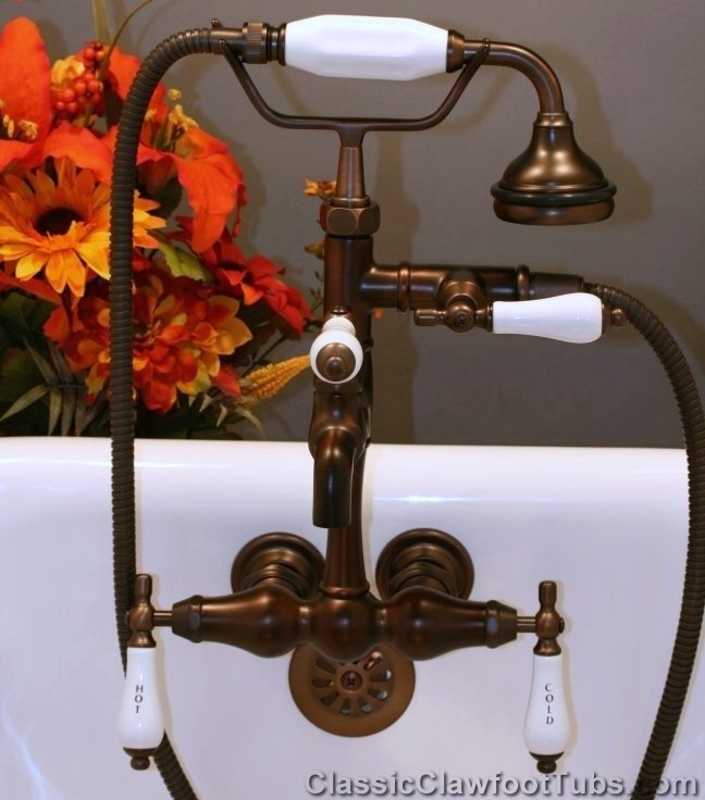 Classic Leg Tub Faucet With Hand Held Shower Classic