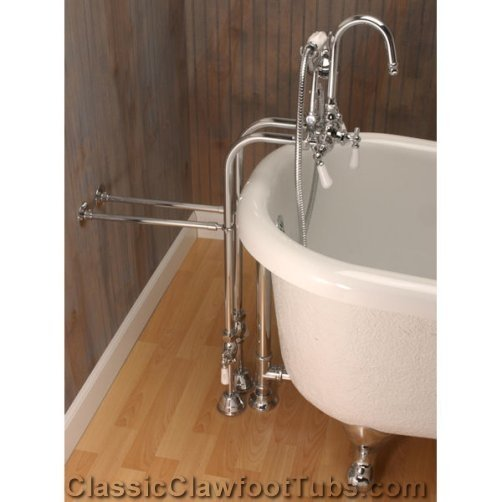Free Standing Gooseneck Faucet Combo Classic Clawfoot Tub