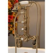 Clawfoot Tub Deck Mount Thermostatic Faucet w/ Hand Held Shower
