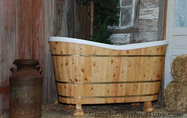 60 Quot Wood Amp Acrylic Dual End Bathtub Classic Clawfoot Tub