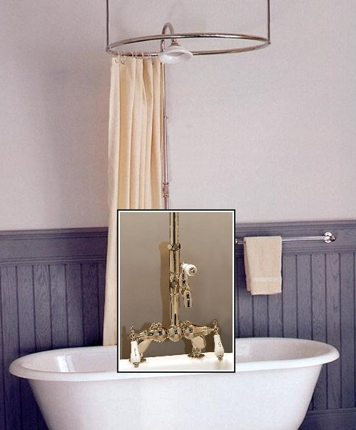 Clawfoot tub deckmount round shower enclosure combo w leg for Clawfoot tub and shower combo