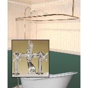 Clawfoot Tub Deckmount Shower Enclosure Combo w/ British Telephone Faucet