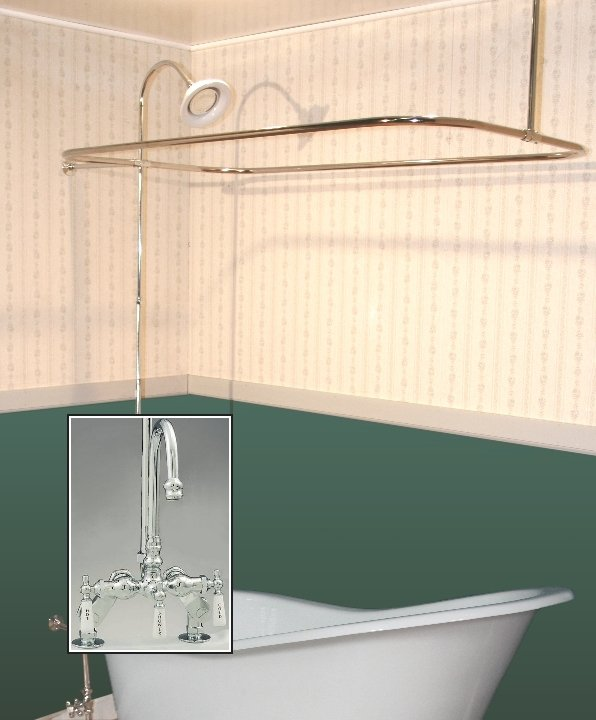Clawfoot Tub Deckmount Shower Enclosure Combo WGooseneck Faucet - Clawfoot tub shower fixtures
