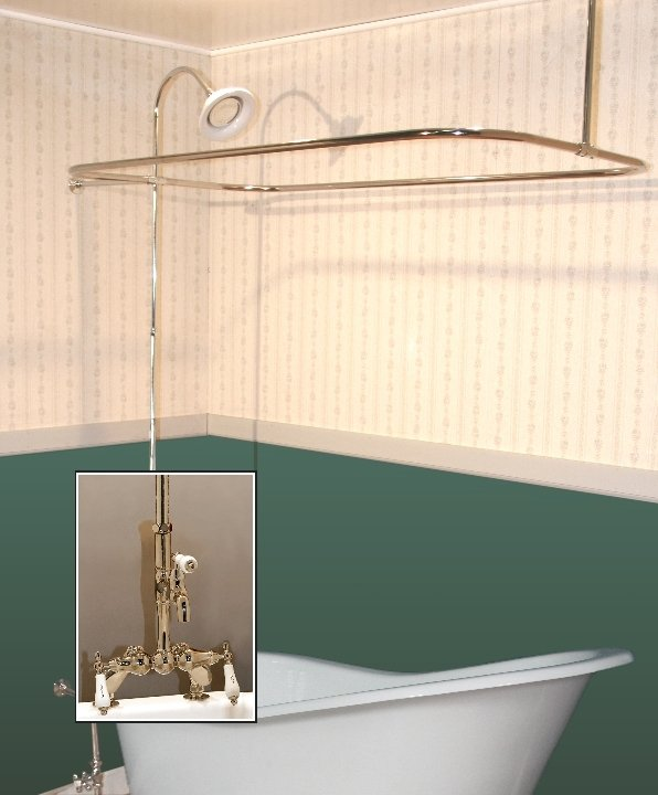 Clawfoot Tub Deckmount Shower Enclosure Combo W Leg Faucet