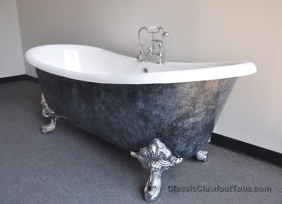 71 cast iron double ended slipper clawfoot tub w imperial. Black Bedroom Furniture Sets. Home Design Ideas