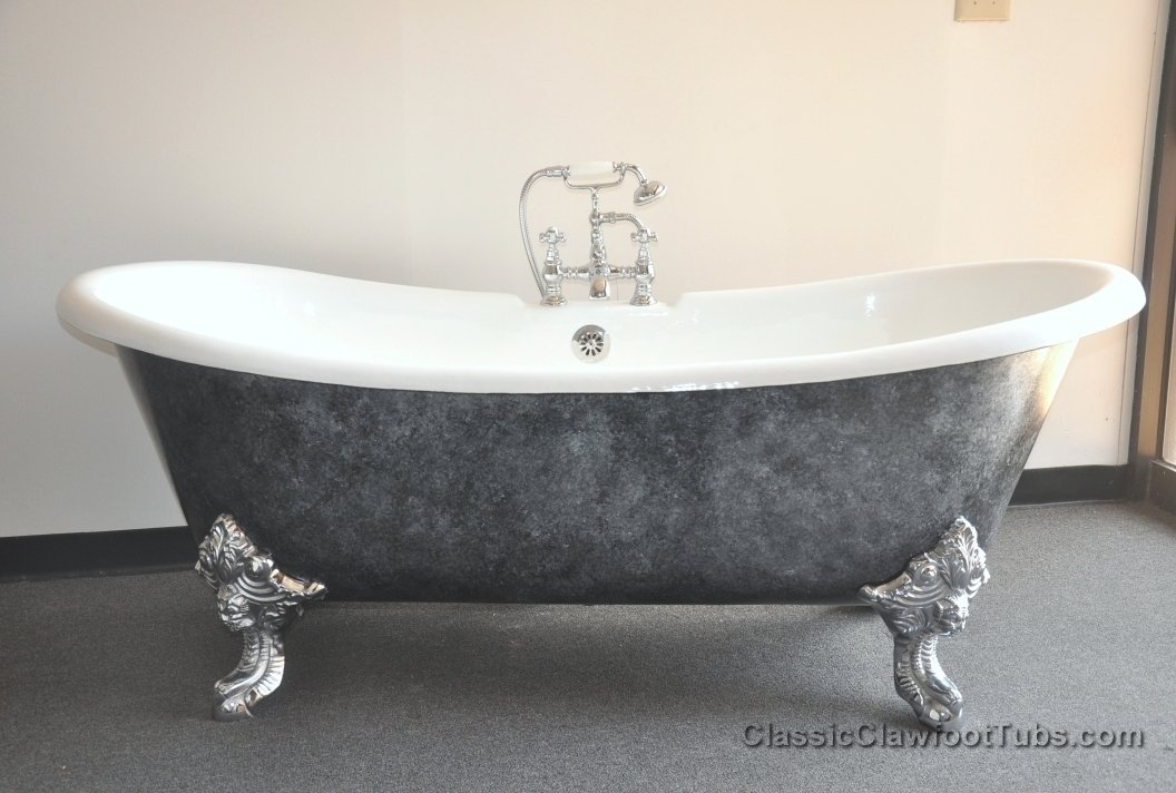 71 Quot Cast Iron Double Ended Slipper Clawfoot Tub W Imperial Feet Classic Clawfoot Tub