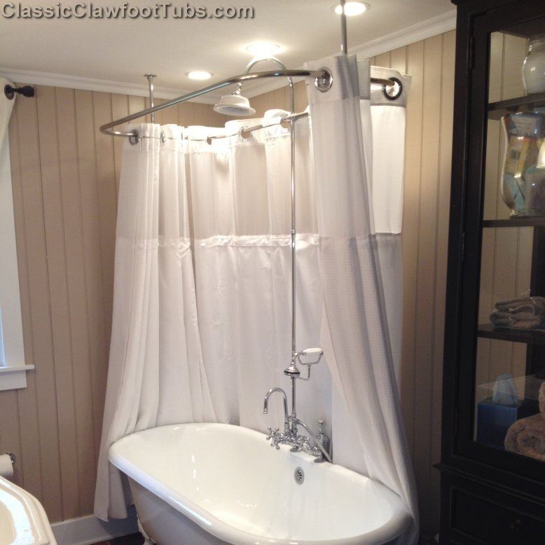 Clawfoot tub deckmount shower enclosure combo w gooseneck for Clawfoot tub and shower combo
