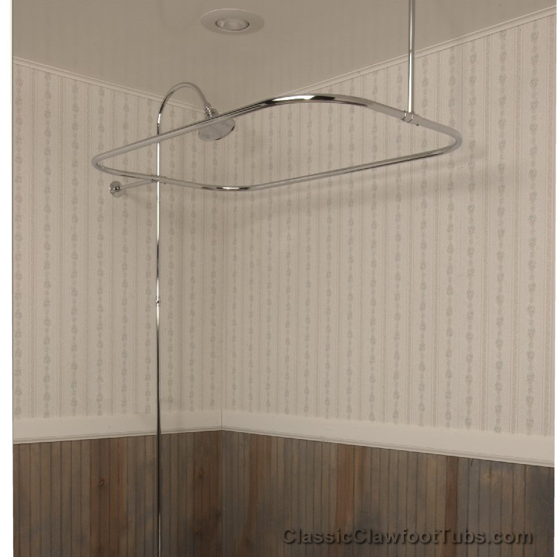Clawfoot Tub Rectangle Shower Enclosure With Riser Braces No Faucet