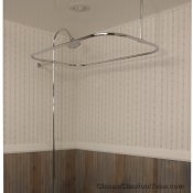 Clawfoot Tub Rectangle Shower Enclosure with Riser & Braces / No Faucet