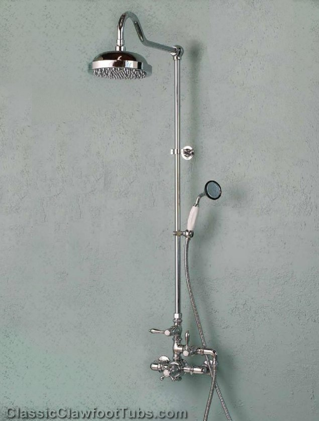 exposed wall mount shower w rain shower head u0026 handheld shower - Hand Held Shower Heads