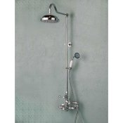 Exposed Wall Mount Thermostatic Shower w/ Rain Shower Head & Handheld Shower